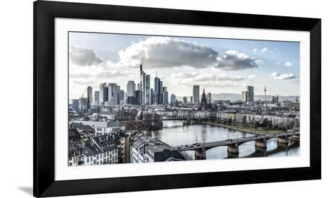 Frankfurt, Hesse, Germany, Panorama of the Frankfurt Skyline-Bernd Wittelsbach-Framed Art Print
