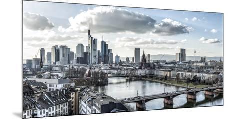 Frankfurt, Hesse, Germany, Panorama of the Frankfurt Skyline-Bernd Wittelsbach-Mounted Photographic Print