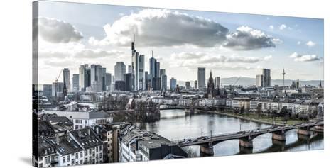 Frankfurt, Hesse, Germany, Panorama of the Frankfurt Skyline-Bernd Wittelsbach-Stretched Canvas Print