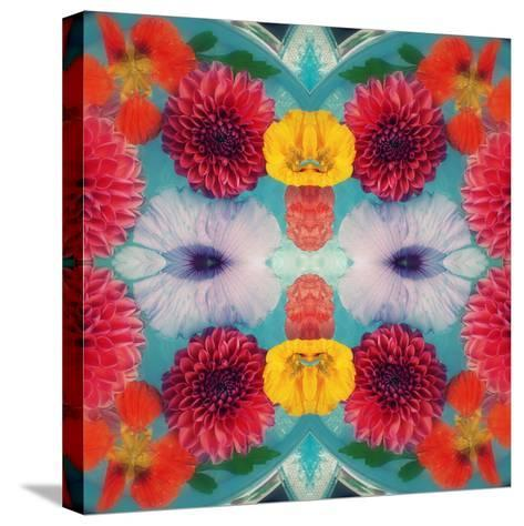 Blossoms in Blue Water Symmetric Layer Work-Alaya Gadeh-Stretched Canvas Print