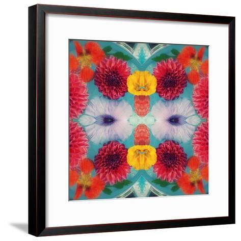Blossoms in Blue Water Symmetric Layer Work-Alaya Gadeh-Framed Art Print