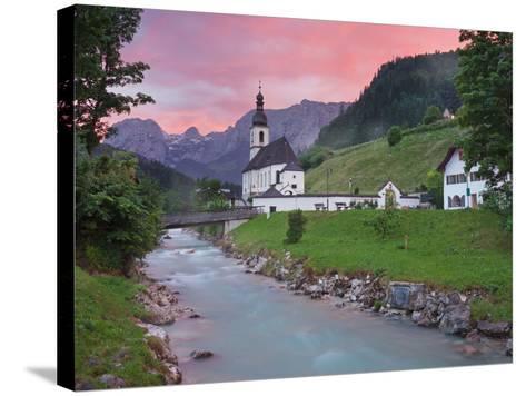 Church in Ramsau, Ramsauer Ache, Rider Stone Mountains, Berchtesgadener Land District, Bavaria-Rainer Mirau-Stretched Canvas Print