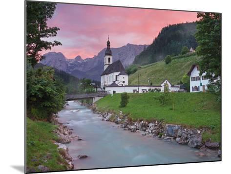 Church in Ramsau, Ramsauer Ache, Rider Stone Mountains, Berchtesgadener Land District, Bavaria-Rainer Mirau-Mounted Photographic Print