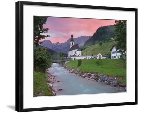Church in Ramsau, Ramsauer Ache, Rider Stone Mountains, Berchtesgadener Land District, Bavaria-Rainer Mirau-Framed Art Print