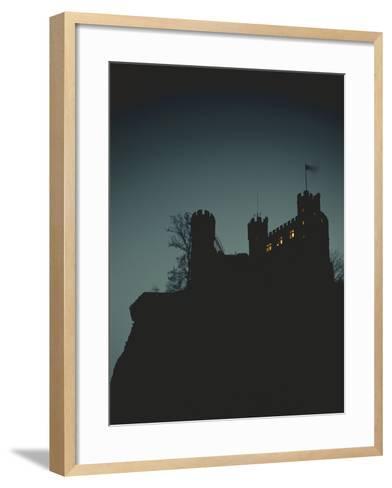 Germany, Rhineland-Palatinate, Trechtingshausen, Castle 'Rheinstein', Night-Thonig-Framed Art Print