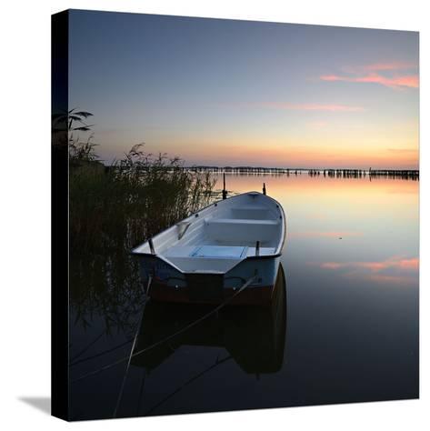 Germany, Mecklenburg-West Pomerania, Island RŸgen, Gro§er Jasmunder Bodden, Sunset, Rowing Boat-Andreas Vitting-Stretched Canvas Print