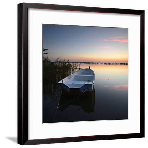Germany, Mecklenburg-West Pomerania, Island RŸgen, Gro§er Jasmunder Bodden, Sunset, Rowing Boat-Andreas Vitting-Framed Art Print