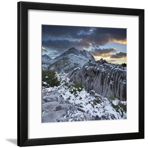 Spain, Mallorca, Serra De Tramuntana, Puig Major, Puig De Ses Vinyes, Col De Cals Reis, Rock, Snow-Rainer Mirau-Framed Art Print