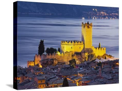 Castle of Malcesine at the Gardasee, Veneto, Italy-Rainer Mirau-Stretched Canvas Print