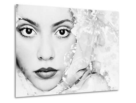 A Portrait of a Woman with White Floral Elements and Big Dark Eyes Looking into the Camera-Alaya Gadeh-Metal Print
