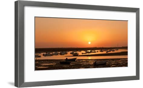 Portugal, Algarve, Ria Formosa Coast, Fishing Boats, Sunset-Chris Seba-Framed Art Print