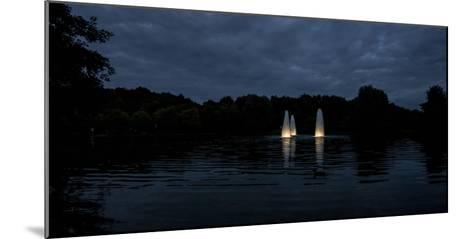 Night Photography Lake with Illuminated Water Fountains-Benjamin Engler-Mounted Photographic Print