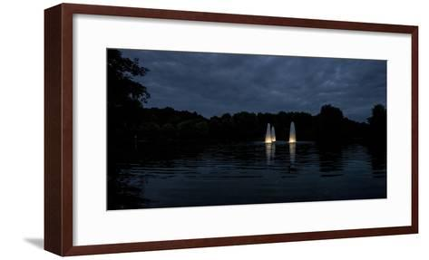 Night Photography Lake with Illuminated Water Fountains-Benjamin Engler-Framed Art Print