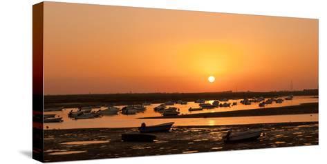 Portugal, Algarve, Ria Formosa Coast, Fishing Boats, Sunset-Chris Seba-Stretched Canvas Print