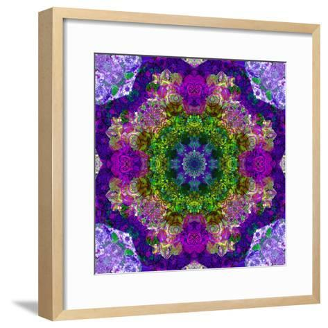 A Filigree Mandala from Color Drawing and Flower Photograph, Layered Work-Alaya Gadeh-Framed Art Print