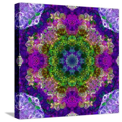 A Filigree Mandala from Color Drawing and Flower Photograph, Layered Work-Alaya Gadeh-Stretched Canvas Print