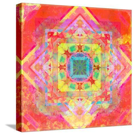 Photomontage of Geometrical Samples with Flowers, Conceptual Layer Work-Alaya Gadeh-Stretched Canvas Print
