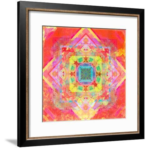 Photomontage of Geometrical Samples with Flowers, Conceptual Layer Work-Alaya Gadeh-Framed Art Print