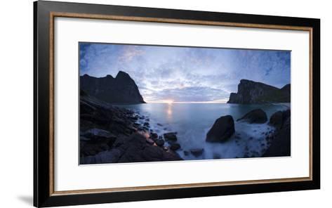 Scandinavia, Norway, Lofoten, Moskenesoey, Kvalvika, Sea-Bay, Sunset, Cloudy-Mood-Rainer Mirau-Framed Art Print