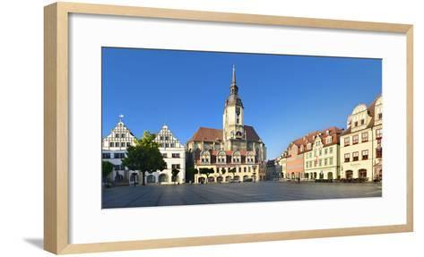Germany, Saxony-Anhalt, Naumburg, Town Houses and Wenzelskirche on the Marketplace-Andreas Vitting-Framed Art Print