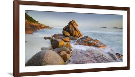 Red Granite at Anse Gaulettes, La Digue Island, the Seychelles-Rainer Mirau-Framed Art Print