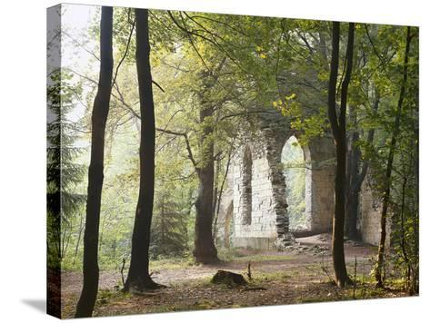 France, Haute-Savoie, Forest, Church Ruin, Near Chamonix-Thonig-Stretched Canvas Print