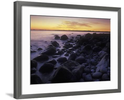 Norway, Telemark, the North Sea, Skagerag, Mšlen, Beach with Glacial Pebbles after Sunset-Andreas Keil-Framed Art Print