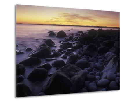 Norway, Telemark, the North Sea, Skagerag, Mšlen, Beach with Glacial Pebbles after Sunset-Andreas Keil-Metal Print