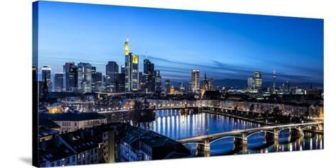 Frankfurt, Hesse, Germany, Frankfurt Skyline Financial District at Dusk-Bernd Wittelsbach-Stretched Canvas Print