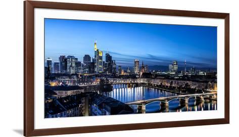 Frankfurt, Hesse, Germany, Frankfurt Skyline Financial District at Dusk-Bernd Wittelsbach-Framed Art Print