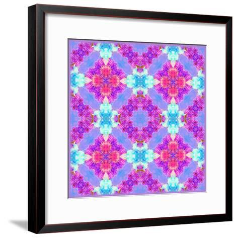 Zinnia with Orchid and Colorful Pop Floral Ornaments, Symmetric Floral Montage, Layer Work-Alaya Gadeh-Framed Art Print