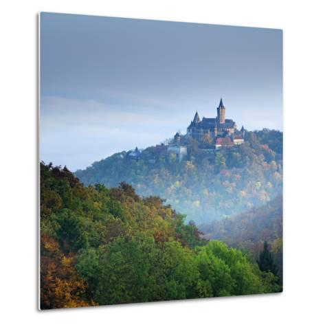 Lock Wernigerode in the First Morning Light, Behind Morning Fog, Saxony-Anhalt-Andreas Vitting-Metal Print