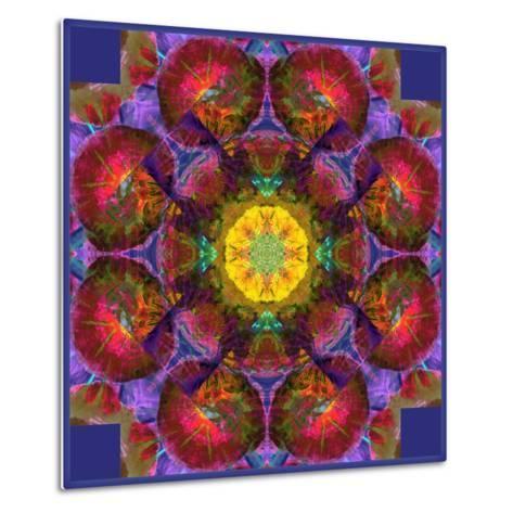 Symmetric Multicolor Layer Work of Blossoms-Alaya Gadeh-Metal Print