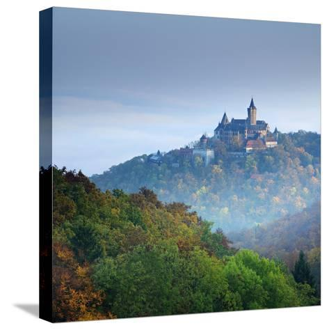 Lock Wernigerode in the First Morning Light, Behind Morning Fog, Saxony-Anhalt-Andreas Vitting-Stretched Canvas Print