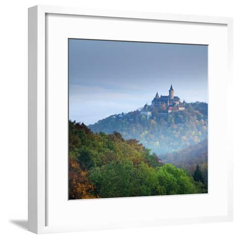 Lock Wernigerode in the First Morning Light, Behind Morning Fog, Saxony-Anhalt-Andreas Vitting-Framed Art Print