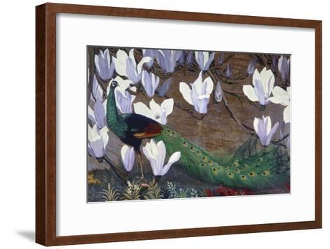 Peacock and Magnolia-Jesse Arms Botke-Framed Art Print