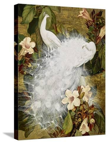 White Peacocks on Pink Hibiscus-Jesse Arms Botke-Stretched Canvas Print