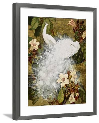 White Peacocks on Pink Hibiscus-Jesse Arms Botke-Framed Art Print