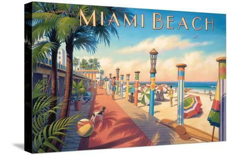 Greetings from Miami Beach-Kerne Erickson-Stretched Canvas Print