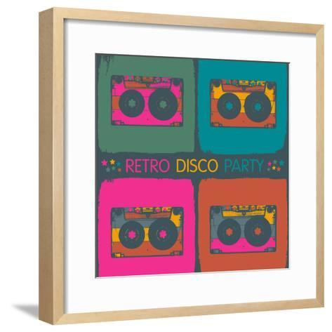 Retro Disco Party Invitation in Pop-Art Style. Raster Version, Vector File Available in Portfolio.-pashabo-Framed Art Print