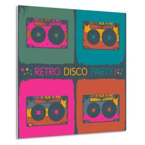 Retro Disco Party Invitation in Pop-Art Style. Raster Version, Vector File Available in Portfolio.-pashabo-Metal Print