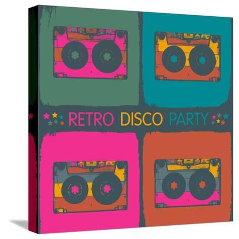 Retro Disco Party Invitation in Pop-Art Style. Raster Version, Vector File Available in Portfolio.-pashabo-Stretched Canvas Print