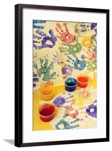 Colorful Handprints and Cups of Paint-Comstock-Framed Art Print