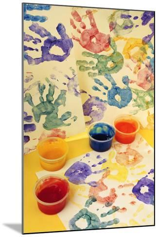 Colorful Handprints and Cups of Paint-Comstock-Mounted Photographic Print
