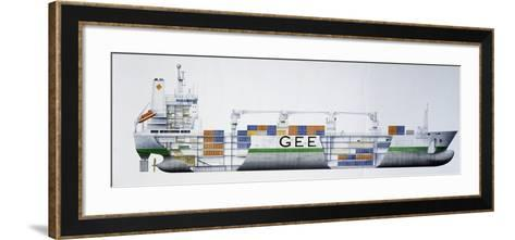 Refeer Ship for Fruit Transportation, 1993, Denmark, Cutaway Drawing-De Agostini Picture Library-Framed Art Print
