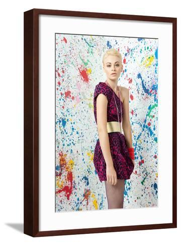 Young Woman in Leopard Print Dress-Image Source-Framed Art Print