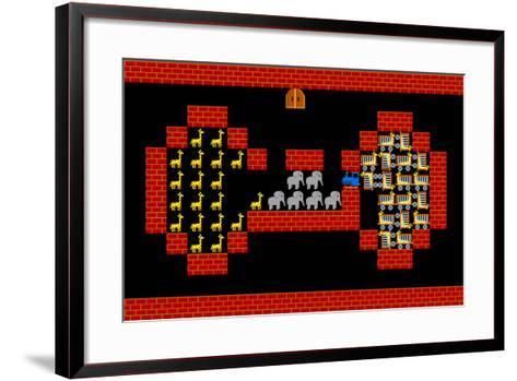 Train, Retro Style Game Pixelated Graphics-PandaWild-Framed Art Print