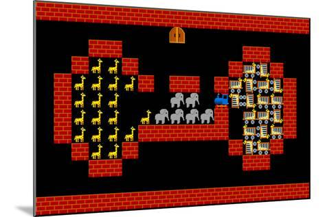 Train, Retro Style Game Pixelated Graphics-PandaWild-Mounted Photographic Print