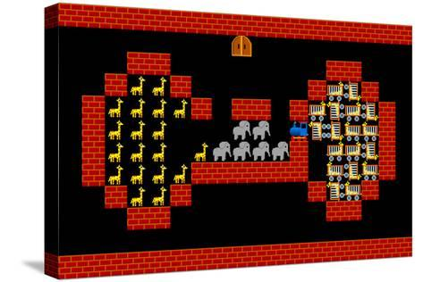 Train, Retro Style Game Pixelated Graphics-PandaWild-Stretched Canvas Print