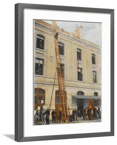 French Sapeurs-Pompiers Use a Long Ladder to Reach the Highest Floors of a Burning Building--Framed Art Print